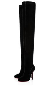 NB Christian Louboutin Classe Velvet 100 Black Stretch Thigh High Heel Boot 36.5