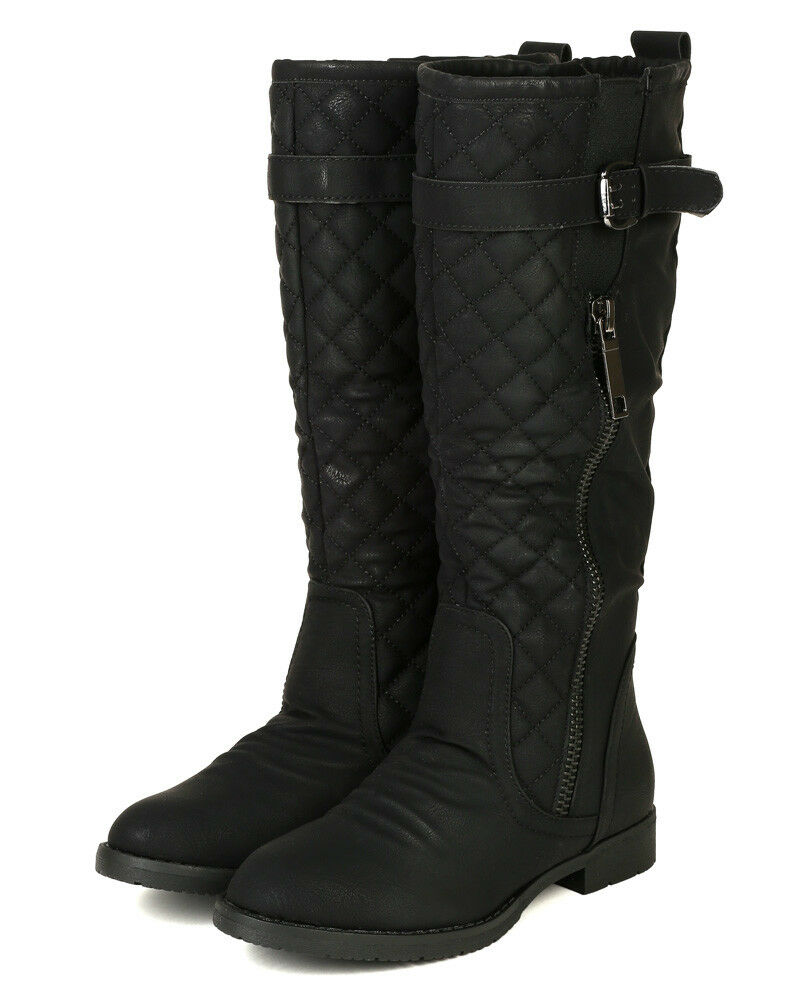 Nature Breeze Leisure-01 New Women PU Quilted Strap Calf High Riding Boot