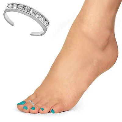 Fashion Jewelry 10k Blanc Solide Or Channel Set Éternité Cz Bande Bague D'orteils Toe Rings