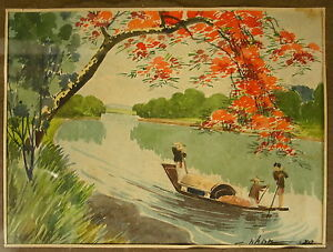 Aquarelle Chine Signée C.hhan 1934 China Signed Watercolor C.hhan 1934 中国签署水彩画