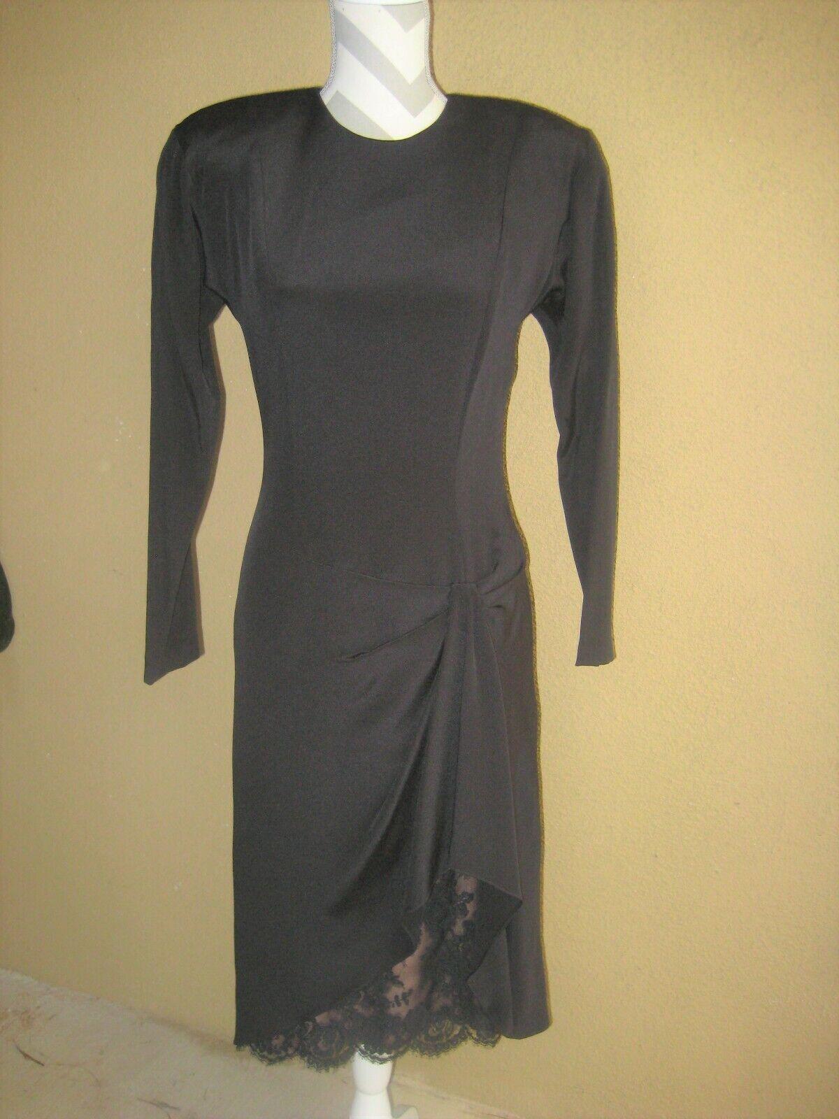 Vintage 1980's Travilla black drop waist LS lined… - image 1