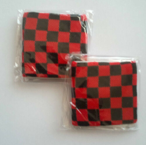 Rave Club Party Black and Red Checker Board Design Sweatband Armband