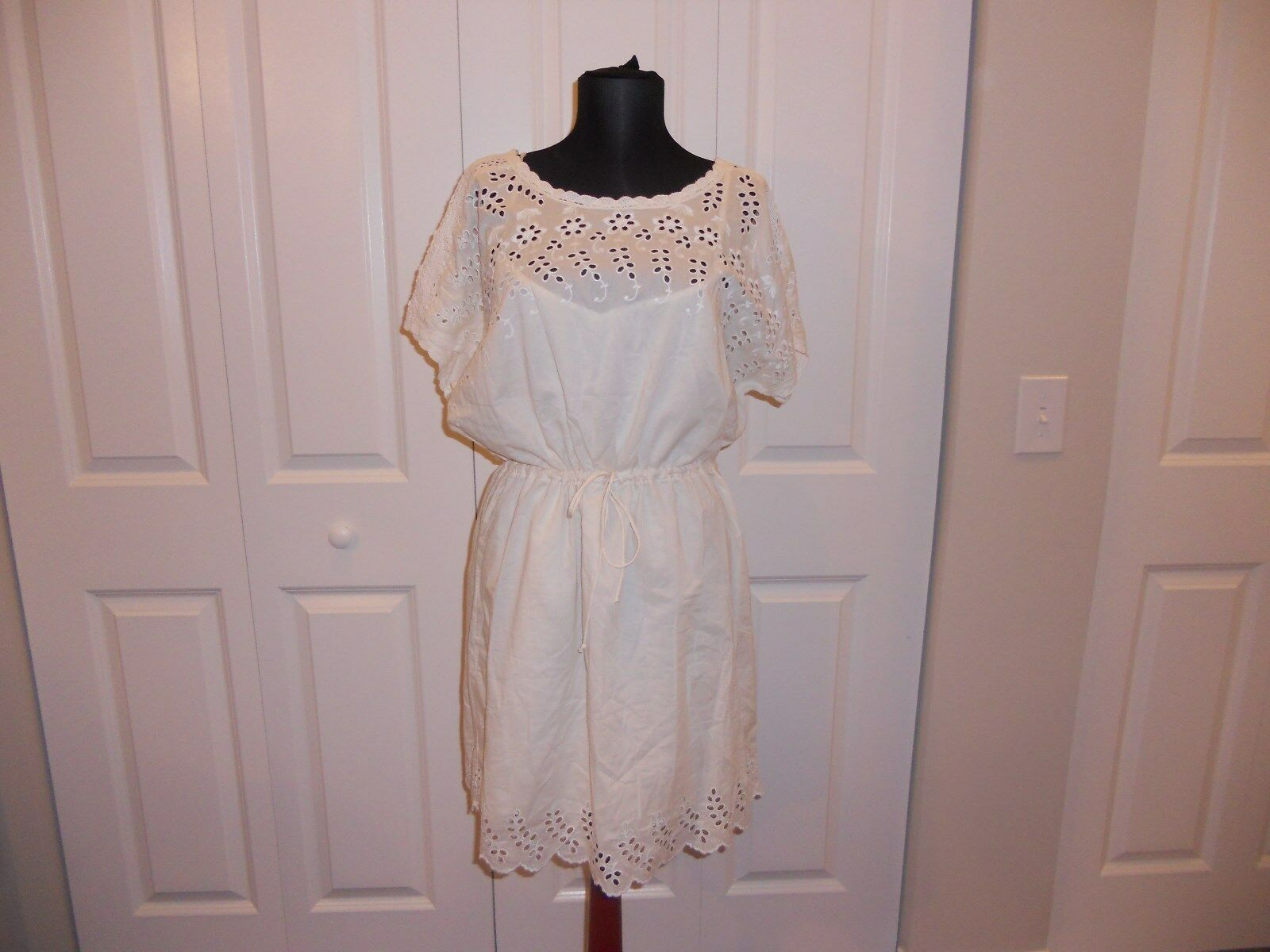 NWT MADEWELL 1937 EYELET WILDFIELD DRESS IN CREAM SIZE 12
