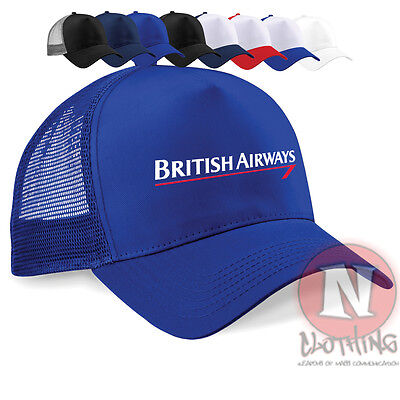 British Airways crew cap Half mesh retro trucker baseball hat airline classic