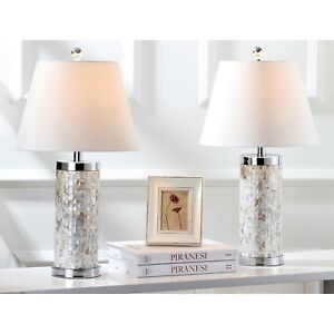 Details About Ivory Capiz Shell Lamp Pair Set Of 2 Cream Beach House Home  Decor White Silver