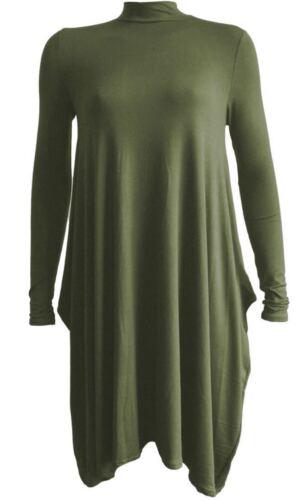Pour femme haut à encolure Polo à manches longues Femmes Plain Tunique Maternité Robe Longue 8-26