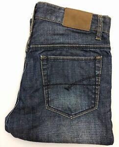 Men-039-S-French-Connection-Regular-Fit-Straight-Leg-Jeans-blu-chiusura-a-bottone-W32-L32
