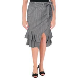 Aqua-Womens-B-W-Striped-Tie-Waist-Ruffled-Midi-Skirt-XS-BHFO-9441