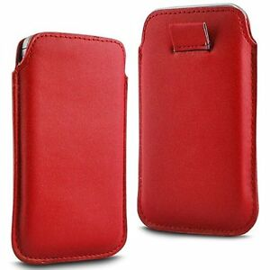 For-Samsung-Galaxy-Core-II-Red-PU-Leather-Pull-Tab-Case-Cover-Pouch