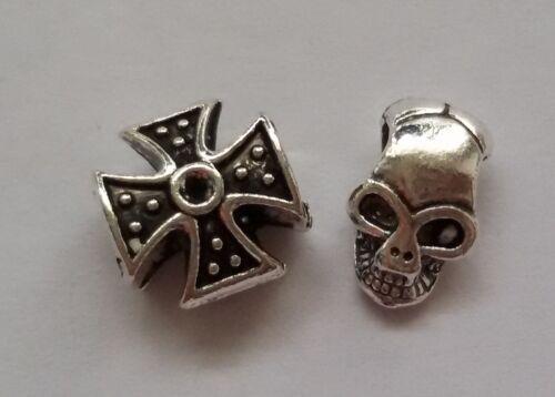 25//50//75 Monkey Skulls Croix de fer Beads großloch Perles Paracord Bracelet