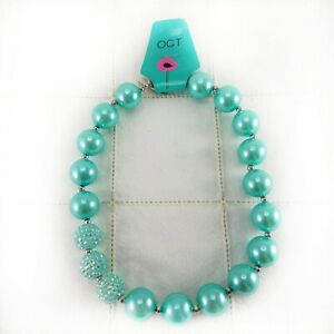 Chunky-Gumball-Bubblegum-Necklace-Turquoise-Faux-Pearls-17-Inch-Toggle-Clasp