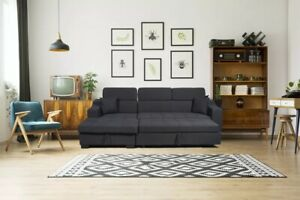 Details About Ayana Corner Sofa Bed With Storage Black Fabric Modern Design High End Quality