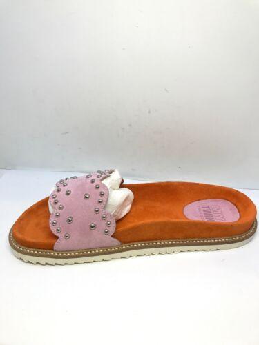 BRS* Twinset Womens Papaya Rose Embellished Slides SIZE EU 39