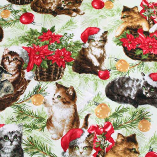 Christmas Cat Landscape Medley Snowflakes Quilting Craft Elizabeth Studio Fabric