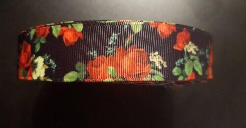 Webband Borte 3623 Rote Rosen 25mm Breite Ripsband