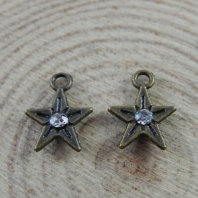 32704 Antiqued Bronze Small Five-pointed Star Pendant Rhinestone Charms100PCS