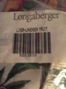 Longaberger-WOVEN-TRADITIONS-Lavender-BASKET-Fruit-Medley-LINER-Nib