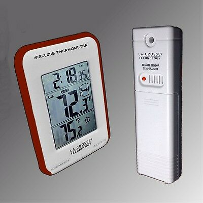 Blue Trimmed La Crosse Large Display Wireless Indoor//Outdoor Thermometer NIB
