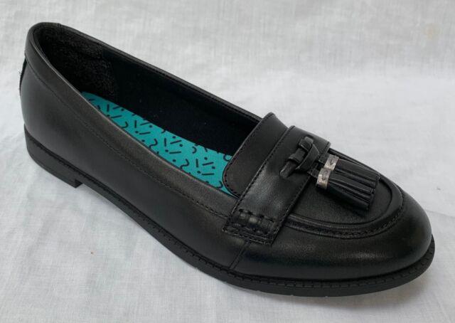 Girls Clarks Bootleg Slip On Leather Tassel Trim Loafer Flats Preppy Edge