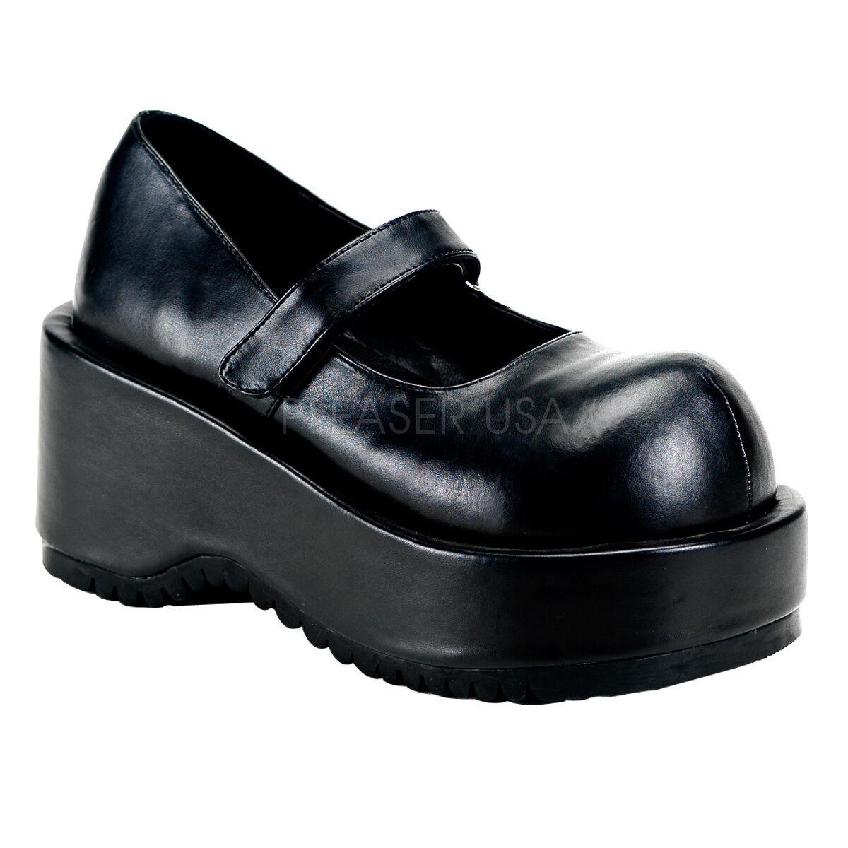 Los últimos zapatos de descuento para hombres y mujeres Descuento por tiempo limitado Demonia Dolly 01 Ladies Goth Punk Rockabilly Cyber Black Vegan Leather Shoes