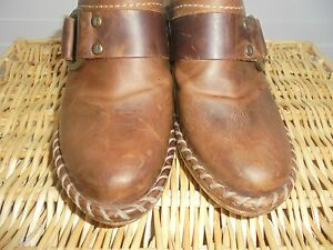 Frye-Boots-Brown-Leather-Harness-Mules-Clogs-Slip-On-Shoes-Women-039-s-6-5-M