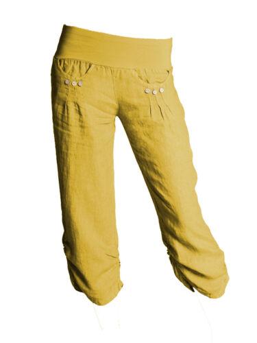 New Womens Linen Pants 3//4 Summer Italian Cropped Boyfriend Capri Ladies Pants