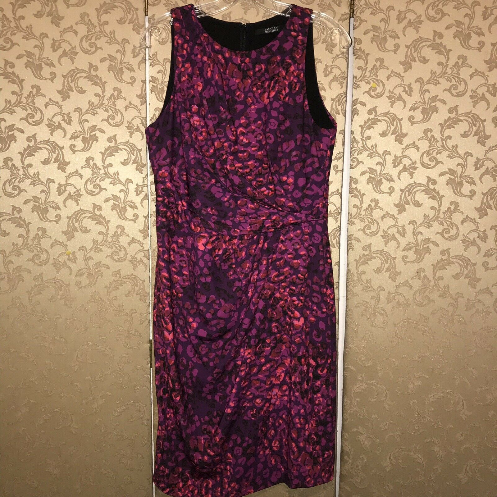 Badgley Mischka Purple Pink Multi-color Sleeveless Sheath Dress 10
