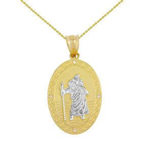 14k-Two-Tone-Yellow-Gold-St-Christopher-Medallion-4-Diamond-1-034-Pendant-Necklace