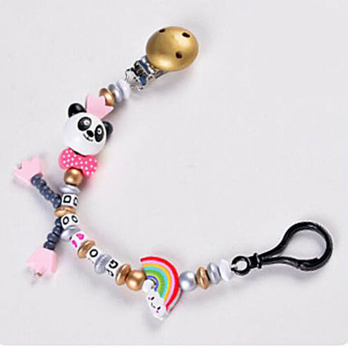 Newborn Baby Panda Pacifier Clip Bead Infant Kids Soother Nipple Strap Chain G