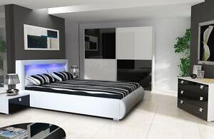 Details zu Schlafzimmer Komplett Hochglanz weiss schwarz Schrank, Bett mit  LED, 2 Nako
