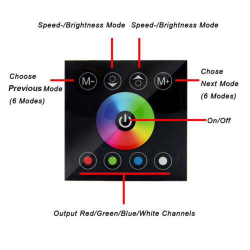 RGB Wall Mount Touch Panel LED controller 240v Strip with Remote UK Seller