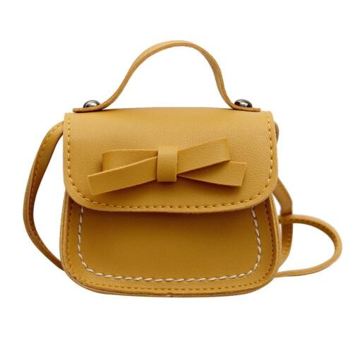 Kids Girls Bowknot PU Leather Shoulder Bag Handbag Satchel Messenger Crossbody