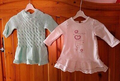 2 süße Baby Mädchen Langarm Kleider, Gr. 68/74, grün ...