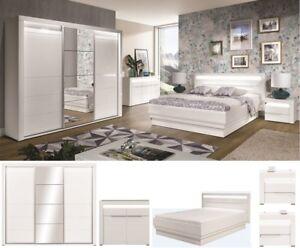 Schlafzimmer komplett weiß hochglanz IRIS Set C Schrank LED Bett 160 ...
