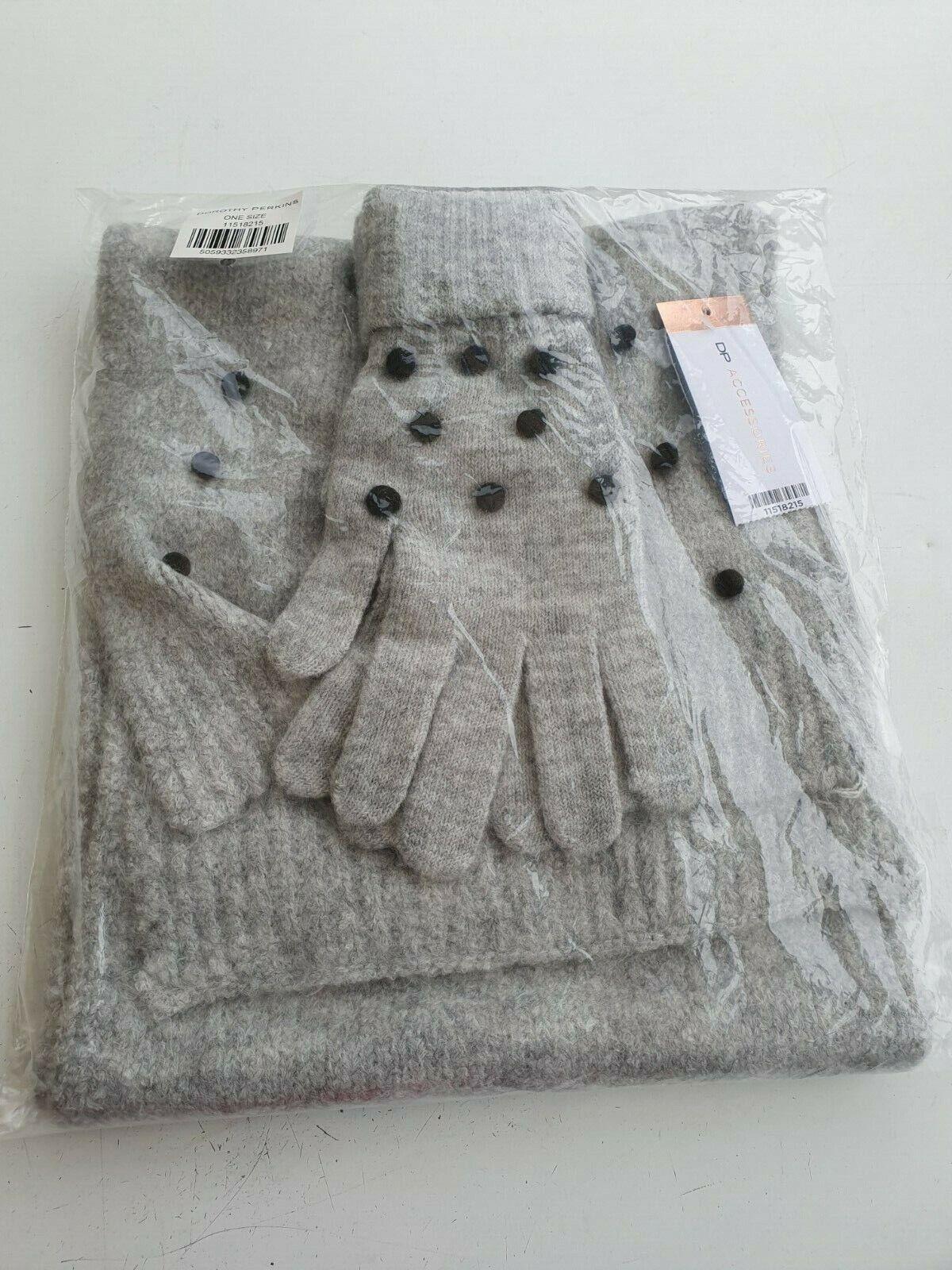 Grey Mini Pom Gloves And Scarf Matching Set Dorothy Perkins BNWT