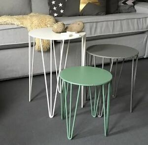 design 3er set beistelltisch tisch couchtisch nachttisch metall wei grau gr n ebay. Black Bedroom Furniture Sets. Home Design Ideas