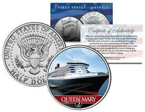 RMS-QUEEN-MARY-2-Ocean-Liner-Colorized-JFK-Half-Dollar-US-Coin-Collectible-w-COA