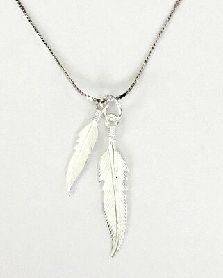 Sterling Silver Feathers Pendant and Chain Necklace - Gift Boxed