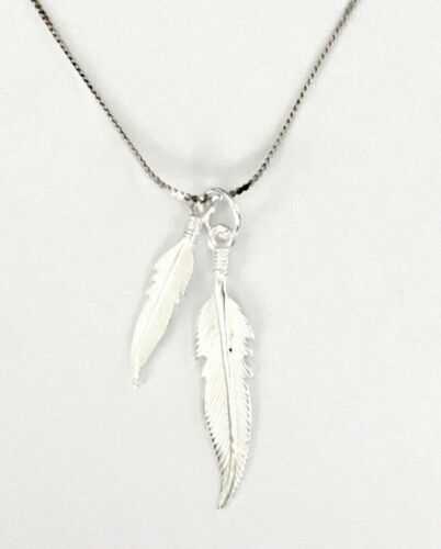 Gift Boxed Sterling Silver Feathers Pendant and Chain Necklace