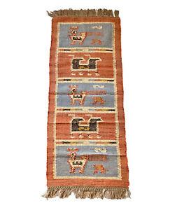 Kilim-Rug-Runner-Birds-Wool-Jute-Hallway-Indian-60x180cm-2x6-039-Kelim-Maroon-Blue