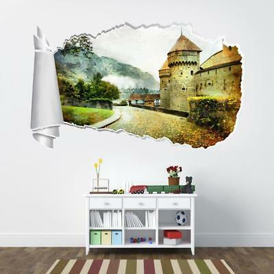 Majestic Forest Trees 3D Torn Hole Ripped Wall Sticker Decal Art Mural WT57
