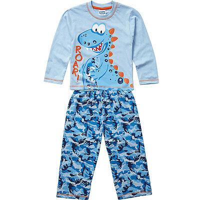 Boys Bedlam Dinosaur Roar Cotton Printed Pyjamas Set Blue Navy Camo 2-6yrs