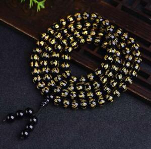 Party-chic-meditation-8mm-108-Six-Words-of-Mantra-beads-Obsidian-Bracelets