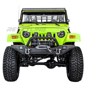 Rock-Crawler-Front-Bumper-Winch-Plate-2x-LED-2xD-Ring-for-97-06-Jeep-Wrangler-TJ