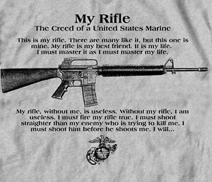 My Rifle Marine Corps Creed USMC Gray Adult Shirt Full ...