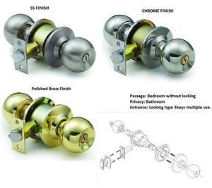 STAINLESS-STEEL-DOOR-LOCK-KNOB-SET-PRIVACY-PASSAGE-BATHROOM-BEDROOM-FROM-6-95
