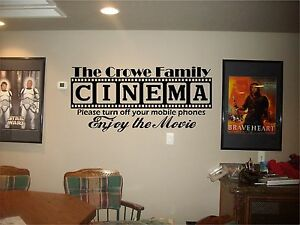 Cinema Theatre customized sign home movie theater vinyl wall decor ...