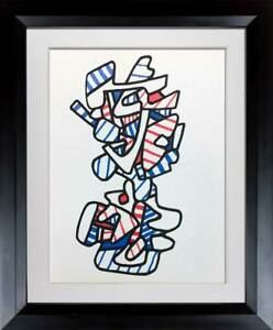 Jean-Dubuffet-LITHOGRAPH-Limited-EDITION-1973-Red-White-Blue-Custom-Frame