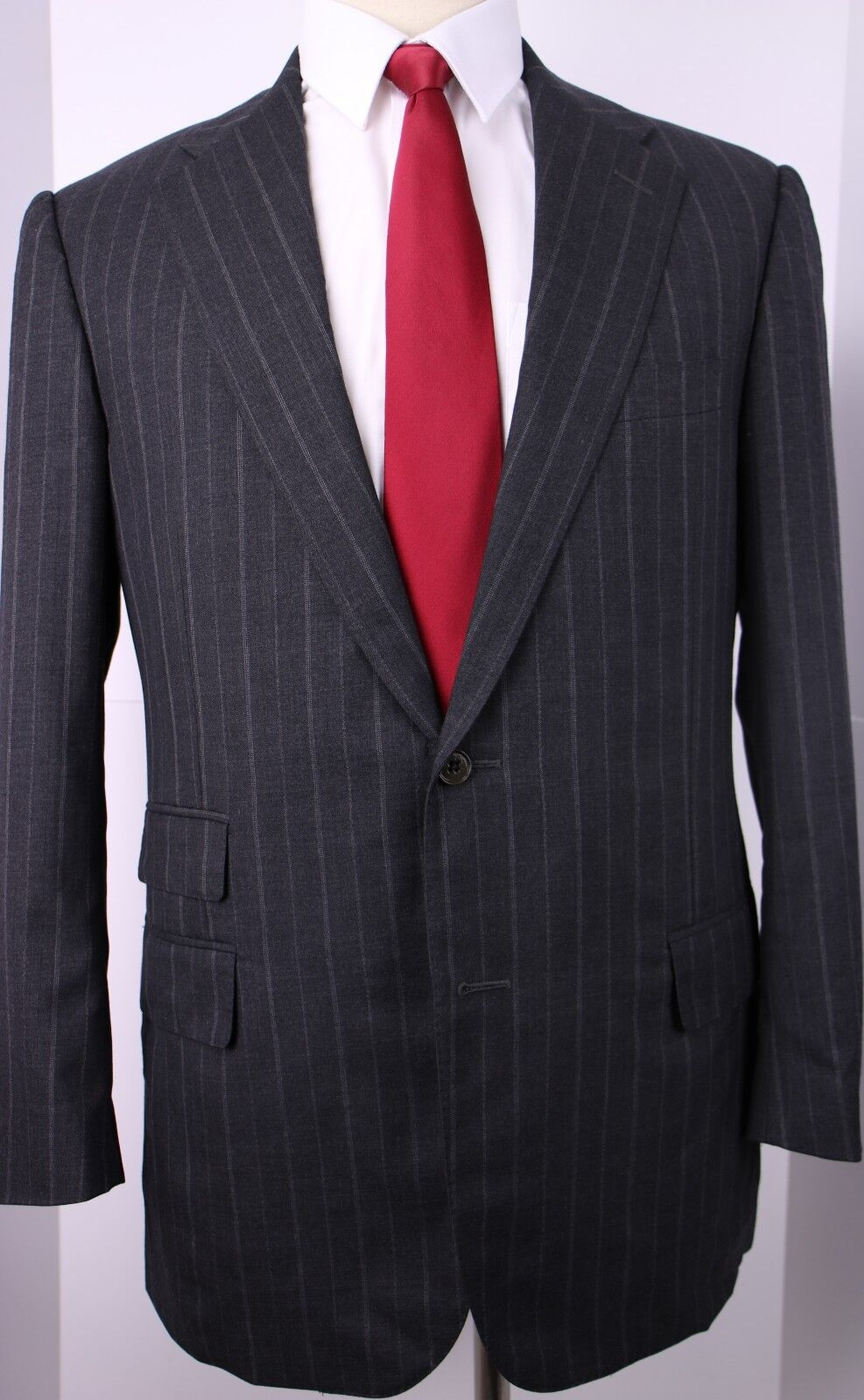 Ralph Lauren Blau Label grau Stripe Two Button Side Vented Wool Suit 40 R 35 30