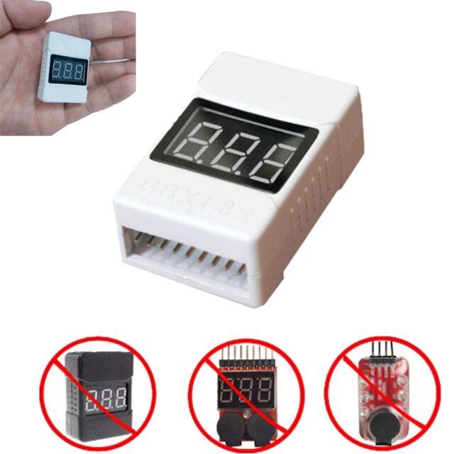 1-8S Lipo//Li-ion//Fe Battery Low Voltage Meter Tester Buzzer Alarm NEW
